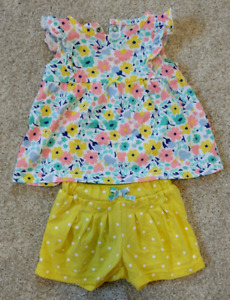 Floral top and shorts - 0-3 months
