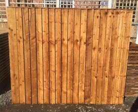 🛠New Pressure Treated Brown Feather Edge Flat Top Fence Panels• HeavyDuty