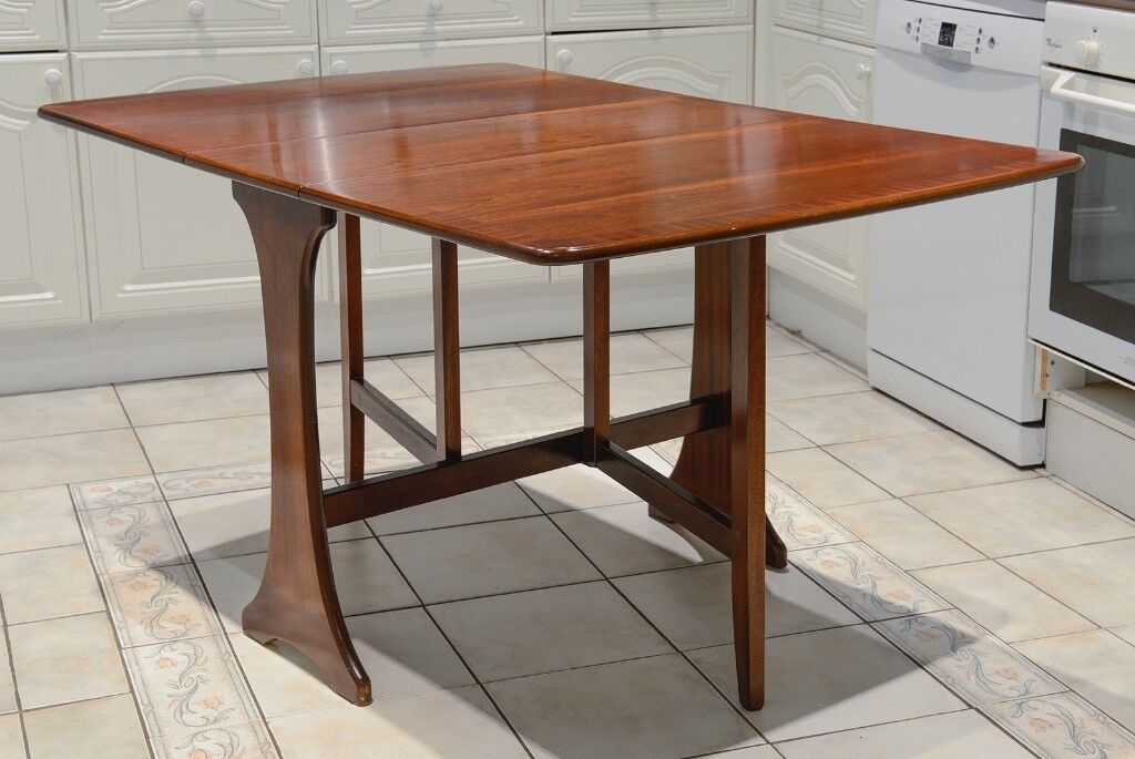 G plan drop leaf gate leg dining table solid mahogany for Solid wood round dining table with leaf