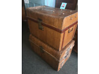 Fab Pair of Antique Victorian Railway Metal Tin Chest Trunk Storage Boxes Coffee tables