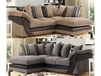 **5 YEAR WARRANTY!** Illusion Luxury Jumbo Cord Corner Sofa Suite - BRAND NEW!