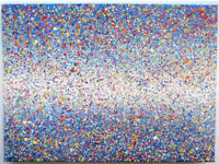 LARGE BLUE SEA LANDSCAPE MODERN ART NEW SPOT DOT ABSTRACT SPLASH PAINTING ON CANVAS | Free Delivery