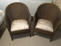 MATCHING PAIR LLOYD LOOM CHAIRS MID CENTURY EXCELLENT CONDITION VINTAGE GOLD
