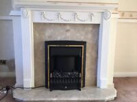 Electric fire with marble back, base and mantle shelf