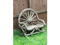 Solid wooden wagon wheel kissing chair