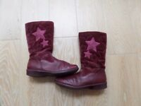 clarks girls junior long leather boot (maroon) / brown desert ankle boots grip soles -size 13