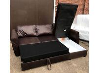 Fabric Corner Sofa Bed With Storage - Chocolate