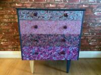 Upcycled painted decoupaged chest of drawers