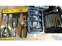 Pliers Set Stanley 3pc and Erbauer 33pc quick change drill and bit set (both sets packaged/unused)