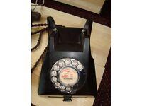 VINTAGE BRITISH BLACK BAKELITE DIAL TELEPHONE