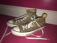 Leopard Print Converse All Star High Tops Size 6 Adults