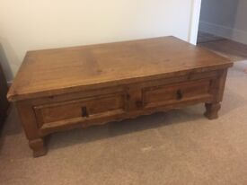 Solid oak coffee table large and heavy