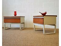 Pair 1970's Teak Mid Century Bedside Cabinet /Side Table by Bath Cabinet Makers