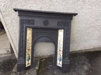 Fire Surround, Cast Iron With Floral Tile Inset