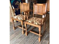 Pair Of Antique Oak Gothic Style Chairs