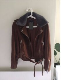 Brand New ALL SAINTS Suede Leather Jacket RRP £358 Size 10