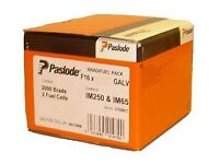 Genuine Paslode brad finishing nails. 1.6x50 (921591) 2000 nails and 2 fuel cells. £16.00 per box.