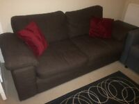 Good sized 2 seater sofa, 1 armchair and 1 footstool with storage.