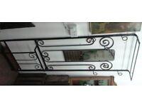 Vintage French Wrought Iron Hall Stand - 6 Hooks, Shelf, Mirror & Umbrellas