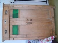Vintage pine unit for sale with decorative inset green glass in doors