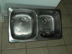 Double Sink (Stainless steel+Faucet. plumbing,
