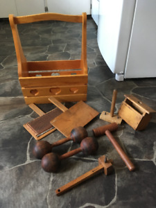 Antique / Vintage   Wool carder, Butter mold , Dumbells and more