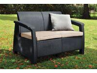 2 seater Keter Corfu Rattan effect sofa