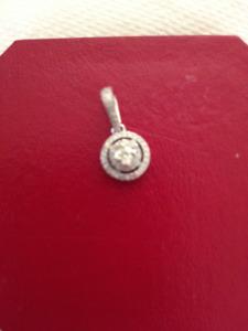 Diamond Pendant in 14 Kt White Gold