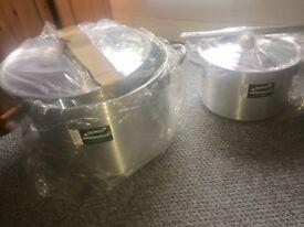 Two Aluminium GenWare STEWPANS (24.5L & 65L)