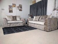 BRAND NEW SOFA CRUSH VELVET CORNER OR 3+2 ***1 YEAR WARRANTY***