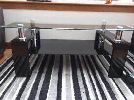 Modern Black Gloss & Glass Coffee Table. £40 ONO
