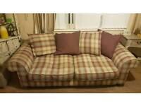 tartan style fabric 3 seater sofa