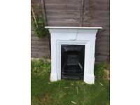 Original Victorian cast iron fireplace and surround white bedroom 98cm height