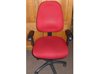 OFFICE OR HOME CHAIR - RED WITH LUMBAR PUMP - GOOD CONDITION