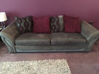 4 Seater Grey And Purple Sofa