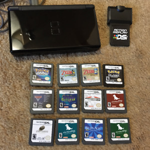 Black Nintendo DS Lite with 12 games and Action Replay