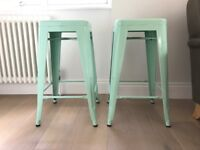 Mint green tolix style kitchen stools x 2. H65cm