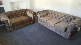 Chesterfield 3 + 2 Sofa in Chocolate Brown With Diamonds (Any Colour)