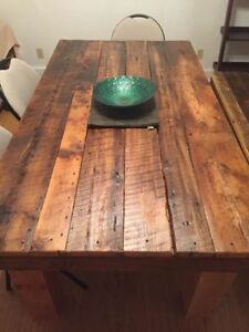 Handmade Reclaimed Wood Dining Table and Bench