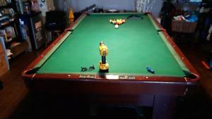 Pool Table, Light fixture, cues, balls (pool and snooker), etc.