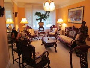 Set salon oriental bois de rose impeccable.