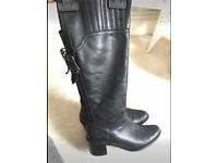 Dune black real leather boots