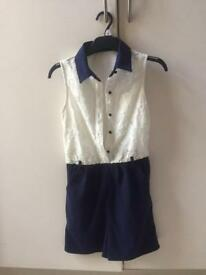 White and Blue jumpsuit size 6