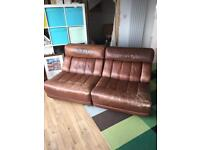 Brown leather vintage retro sofa (set of 3 chairs)