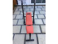 Pro PowerWeights Bench - plus- 3kg bar and dumbells with cast iron weights