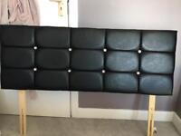 Faux leather black diamanté double headboard