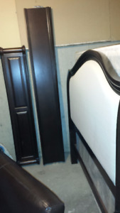 Upholstered headboard with wood foot board and frame