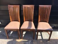 Biege high back dining chairs x6