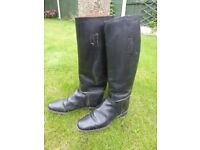 Full Length Black Leather Riding boots