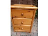 Solid Pine Bedside Cabinet in Excellent Condition